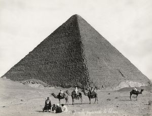 EGYPT: CHEOPS PYRAMID. View of the Great Pyramid of Cheops at Giza, Egypt. Photograph
