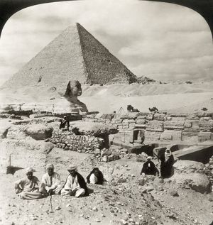 EGYPT: GREAT SPHINX, 1908. The Great Sphinx and pyramid at Giza: stereograph, 1908.