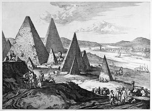 EGYPT: PYRAMIDS, 1670. Fanciful view of the Pyramids and Nile River in Egypt. Line engraving