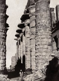 EGYPT: THEBES. Stone columns at Karnak, Egypt, once part of the ancient city of Thebes