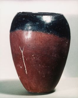 EGYPTIAN VASE, c4000 B.C. Badarian black-topped pot from Upper Egypt.