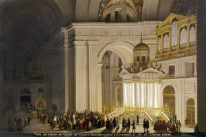 EL ESCORIAL: HOLY THURSDAY. Interior of the Escorial monastery during a Holy Thursday