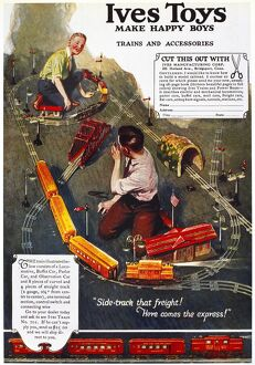 American advertisement for an electric train made by Ives Toys, 1918.
