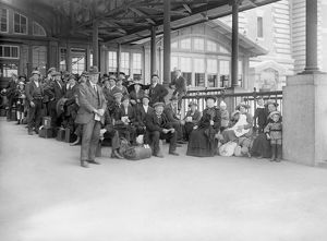 american history/ellis island c1910 new immigrant awaiting examination