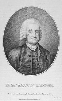EMANUEL SWEDENBORG (1688-1772). Swedish scientist, philosopher and religious writer. At age 80. Engraving, English, 1786.