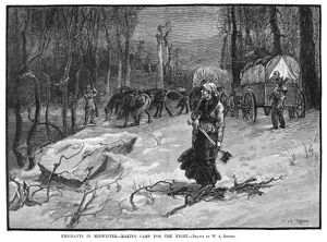 EMIGRANTS TO WEST, 1883. Emigrants traveling westward make camp for the night in