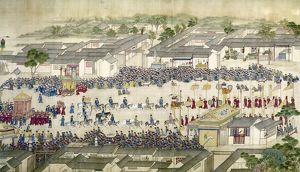 Emperor of China, 1661-1722. K'ang Hsi entering Peking on the occasion of his 60th birthday
