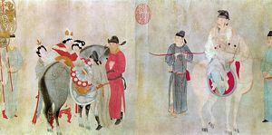 Emperor Ming Huang (712-756) and his famous concubine, Yang Kuei-fei, on horseback