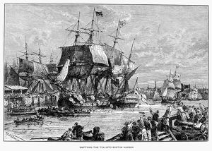 Emptying the tea into Boston Harbor, 16 December 1773. Engraving, 19th century.