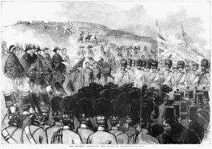 ENGLAND: ALDERSHOT, 1856. 'The Queen addressing the troops at Aldershott
