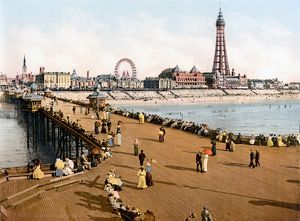 ENGLAND: BLACKPOOL, c1900. A view from the North Pier of the beach and amusement park at Blackpool