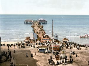 ENGLAND: BLACKPOOL, c1900. A view of the North Pier at the beach and amusement park at Blackpool