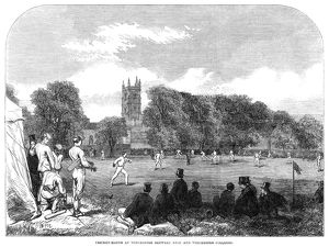 ENGLAND: CRICKET, 1864. Cricket match between Eton College at Winchester College