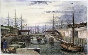 ENGLAND: LONDON, 1831. View of the London docks, looking west. Steel engraving