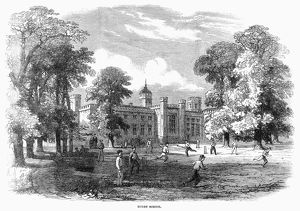 ENGLAND: RUGBY SCHOOL. Boys playing cricket at Rugby, the public school founded