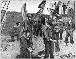 ENGLAND: SAILORS, 1885. 'Dressing an ironclad with flags at Spithead in honour