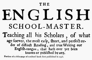 ENGLAND: SCHOOLBOOK, 1596. Title page to an English schoolbook of 1596
