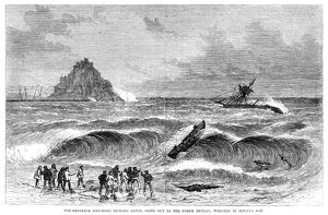 ENGLAND: SHIPWRECK, 1868. The Penzance lifeboat, 'Richard Lewis,' going out