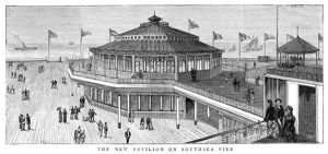 ENGLAND: SOUTHSEA, 1882. A new pavilion on Southsea Pier in Portsmouth, England