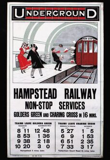 English poster for 'Hampstead Railway Non-Stop Services,' 1910.