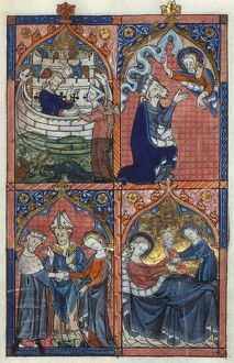 ENGLISH PSALTER, c1303-16. Noah and his ark; Joachim and the Lord; Marriage of Joachim