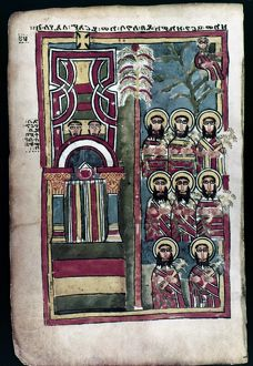 The Entry into Jerusalem (right-hand page). Addis Ababa manuscript. Ethiopia. Before 1350.