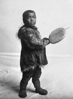 ESKIMO CHILD, c1905. Eskimo child wearing traditional fur clothing in Nome, Alaska
