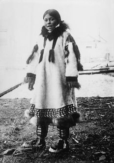 ESKIMO GIRL. Eskimo girl wearing traditional clothing