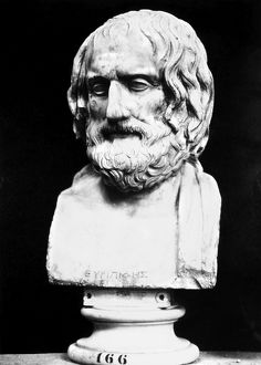EURIPIDES. Greek playwright of 5th century B.C. Ancient marble bust.
