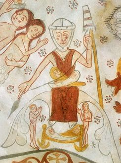 EVE SPINNING, c1350. Eve spinning with a distaff, with two children in her lap