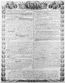 Facsimilie of the original draft of the Declaration of Independence with portraits