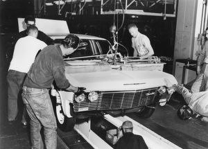 FACTORY: CHEVROLET, 1960s. A Chevrolet assembley line in the early 1960s.