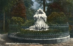 FAIRY TALE FOUNTAIN, c1920. Sculpture by Max Blondat (1872-1925) located in Hofgarten Park