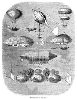 Fanciful airships and flying machines. Wood engraving, American, 1856.
