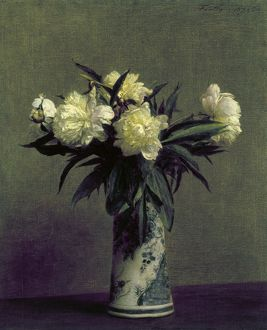 FANTIN-LATOUR: PEONIES, 1872. Peonies in a blue and white vase