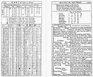 FARMER'S ALMANAC, 1793. 'Astronomical Calculations' and other information