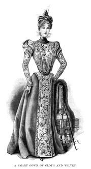 FASHION: GOWN, 1898. Cloth and velvet gown. English illustration, 1898