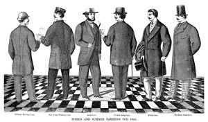 FASHION: MEN, 1866. The Spring and Summer fashions for men for 1866. Wood engraving