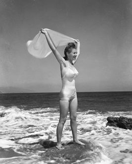 FASHION: WOMEN'S SWIMSUIT. Photographed c1940.