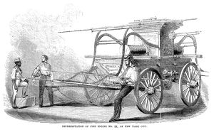 FIRE ENGINE, c1853. Fire engine no. 38, of New York City. Wood engraving, American