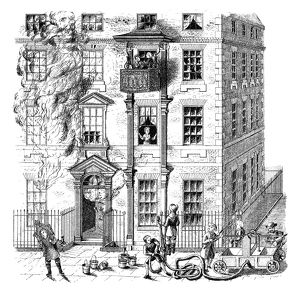 FIRE ESCAPE, 1791. A movable balcony fire escape in England, 1791. Engraving, English