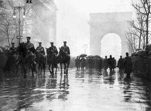 Firefighters on horseback lead a Trade Union memorial procession for the victims