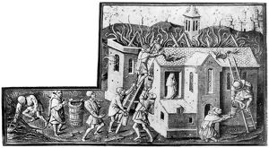 FIREFIGHTING, 1400s. Saving an image of the Virgin from a church on fire
