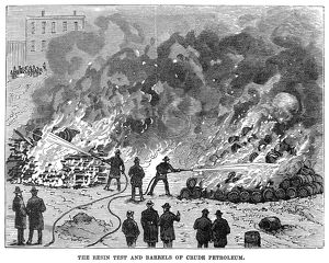FIREFIGHTING, 1876. Firefighters demonstrating how to extinguish fires of burning resin