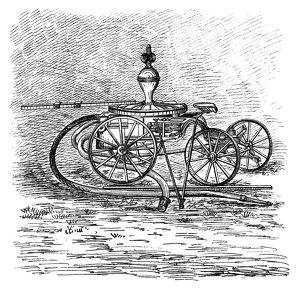FIREFIGHTING, 1882. An American invention for a horse-powered fire engine and pump