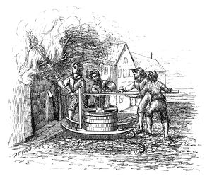 FIREFIGHTING, c1600. A single-acting fire pump used to fight fires, c1600. Engraving