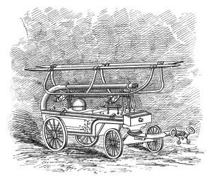 FIREFIGHTING, c1834. An American hand-pulled fire engine dating from c1834. Engraving
