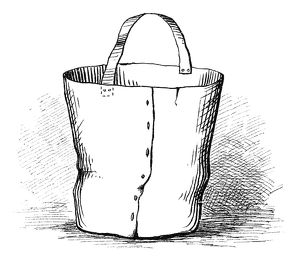 FIREFIGHTING: WATER BUCKET. An ancient water bucket used for fighting fires. Engraving