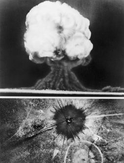 The first atomic explosion, 16 July 1945, in New Mexico.