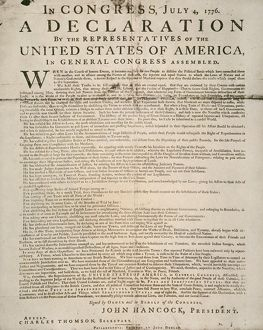 The first printing of the Declaration of Independence, also known as the 'Dunlop Broadside